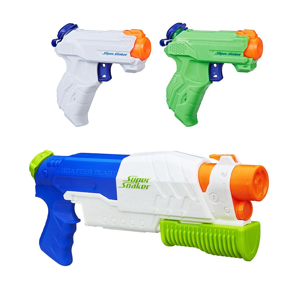 너프 수퍼소커 집파이어 물총 2p + 스캐터블라스트 물총 기본장착 세트, 혼합색상