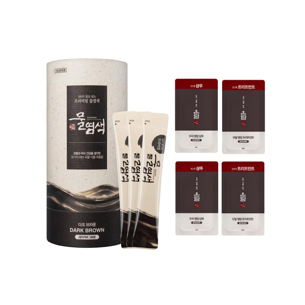 씨드비 새치 물염색제 + 온담 샴푸 2p + 트리트먼트 2p, 다크 브라운, 1세트