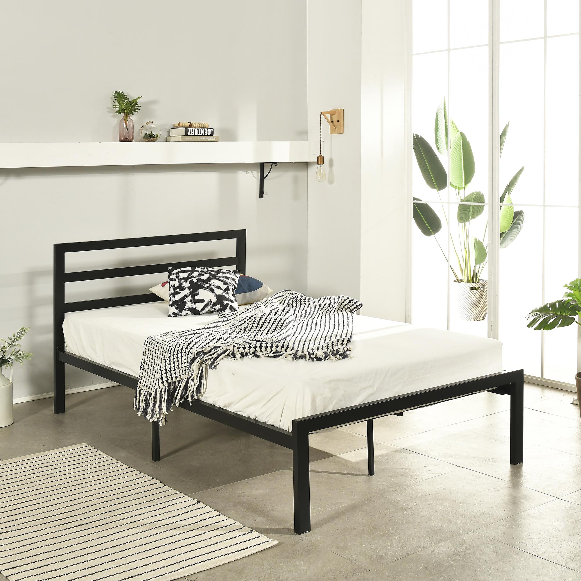 홈페리 솔레일 철제 침대 프레임 단품, 블랙