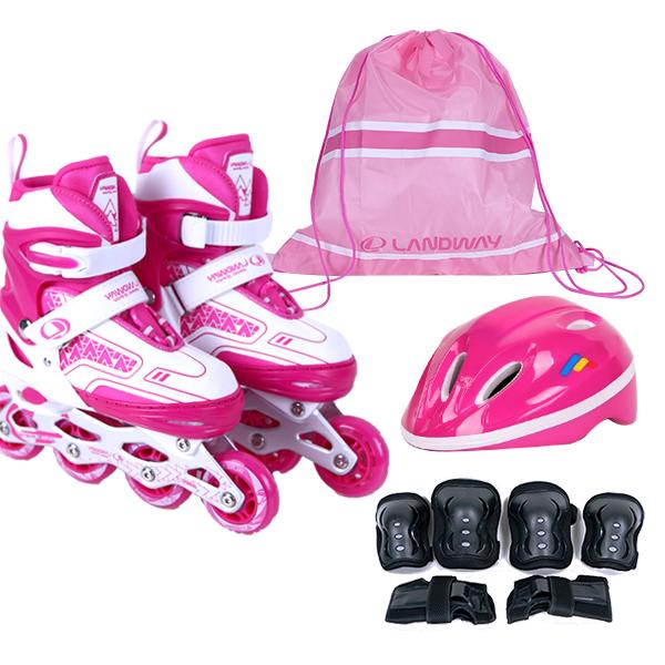랜드웨이 스타 풀세트 인라인스케이트 + 헬멧 + 보호대 + 가방 풀세트, 핑크