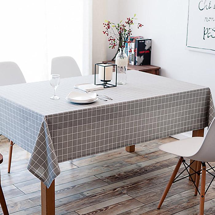 구르밍 북유럽 스타일 패턴 식탁 테이블보, 사각 체크그레이, 8인용(140 x 220 cm)