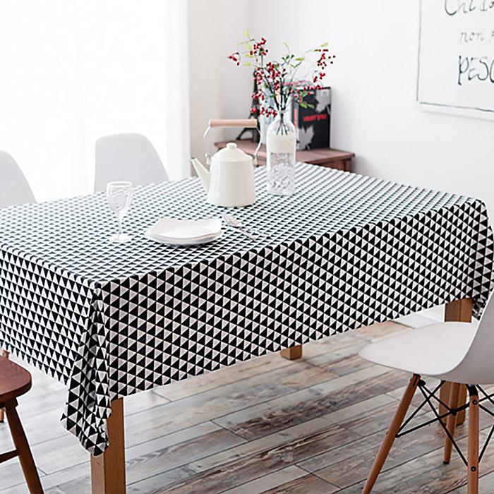 구르밍 북유럽 스타일 패턴 식탁 테이블보, 삼각 블랙 + 화이트, 6인용(140 x 200 cm)