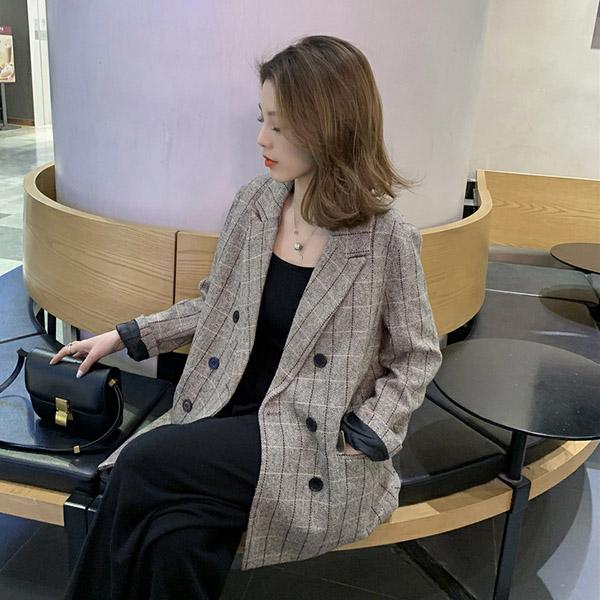 포플러앤씨 여성용 베네사 체크 자켓