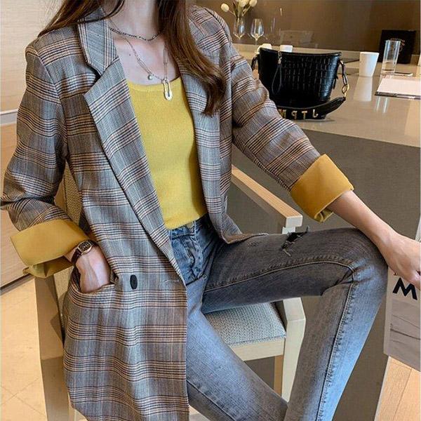 포플러앤씨 여성용 디아트 체크 자켓