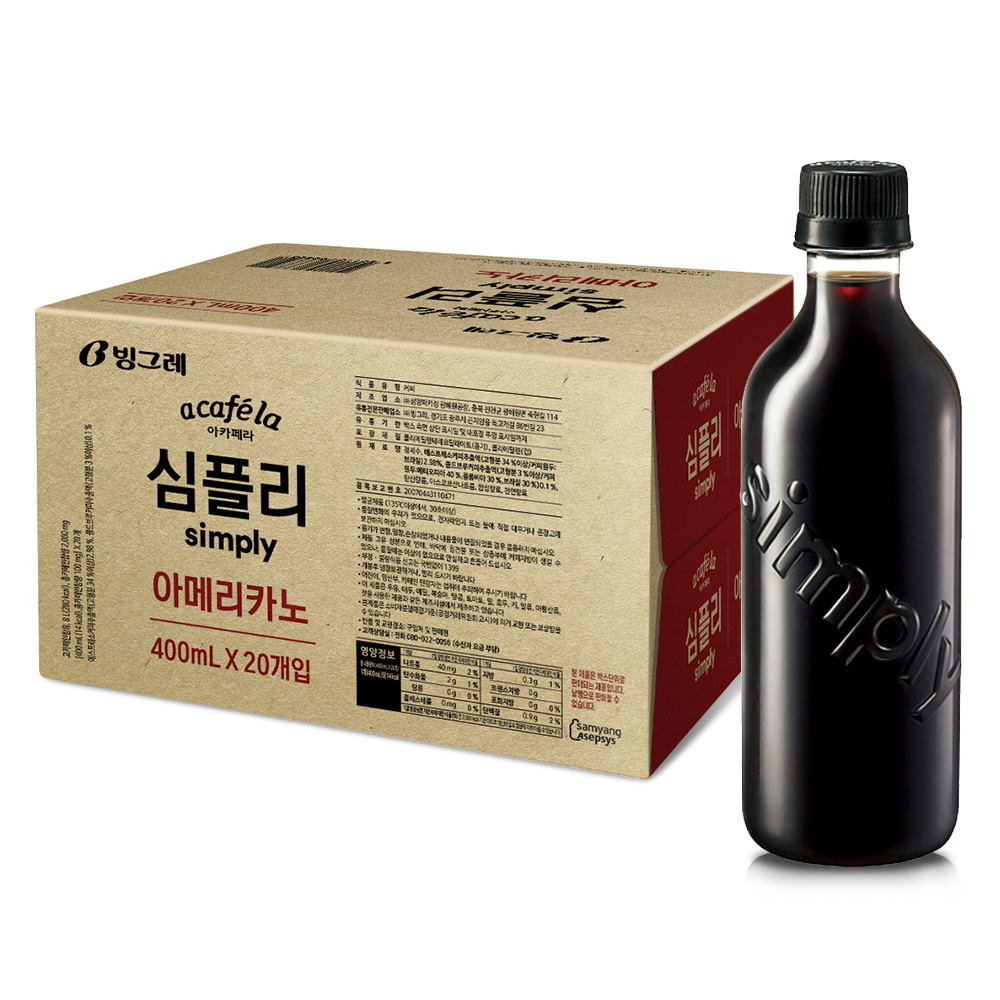 아카페라 심플리 아메리카노 커피, 400ml, 20개