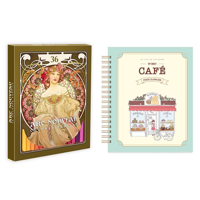 마이 스위트 카페 스티커 컬러링북 + 36색 색연필 세트, 아르누보