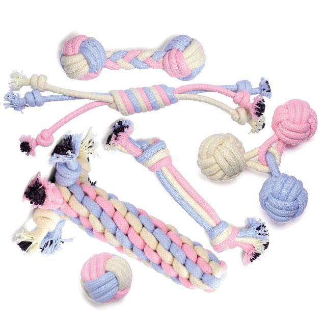 리스펫 강아지 장난감 파스텔러버 로프 6종세트, 핑크, 블루, 옐로우, 1세트