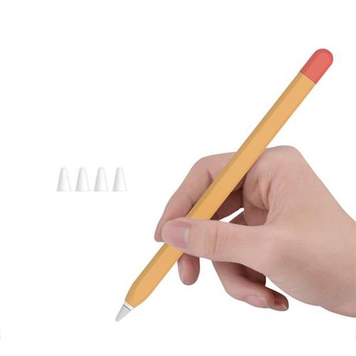 뷰씨 애플 펜슬 1세대 듀오 케이스 + 저마찰 C타입 펜촉 보호캡 4p 세트, 1세트, 오렌지