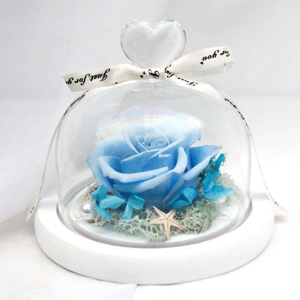 아침향기 프리저브드 플라워 하트 유리돔, 블루