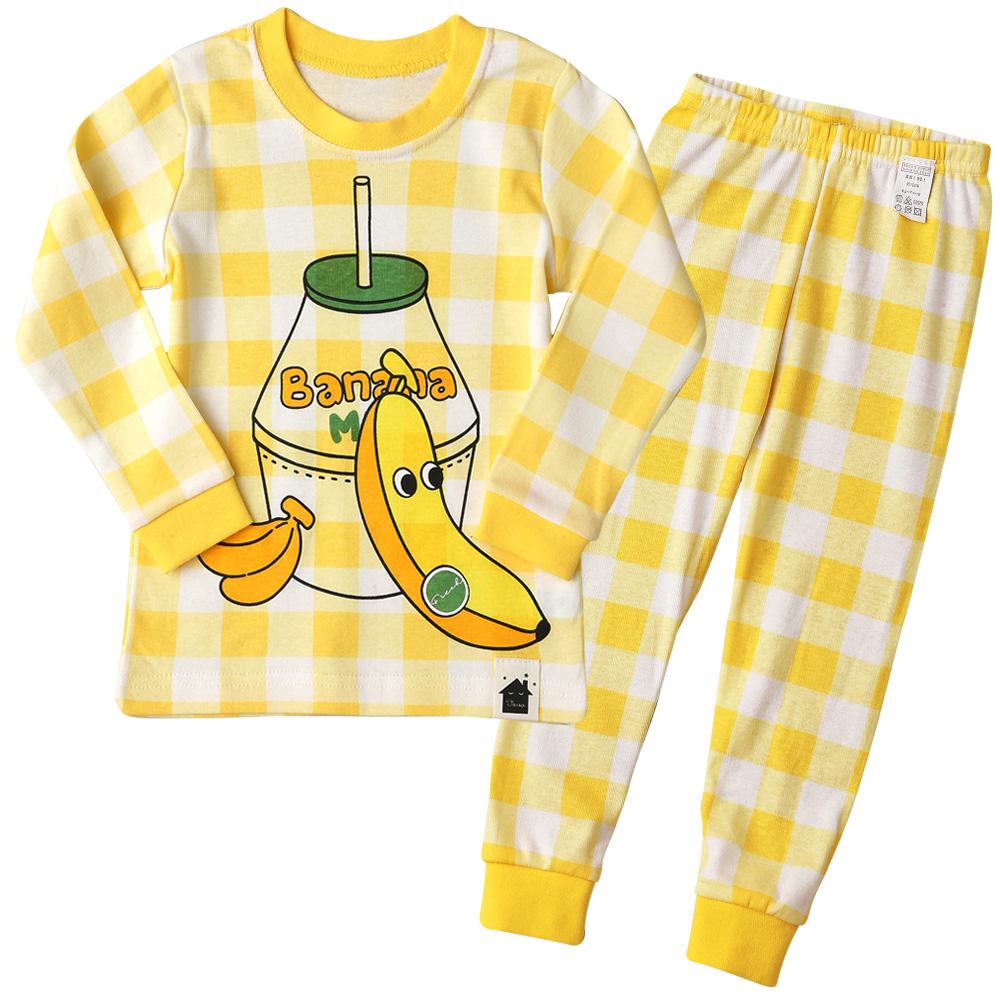 아동용 오가닉 내의 상하세트 체크 바나나