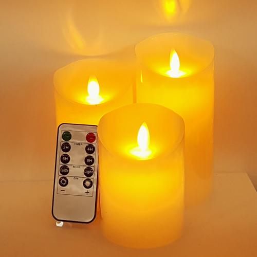 LED 촛불 흔들리는 건전지 전자초 10cm + 12.5cm + 15cm + 리모컨 1p 세트, 혼합색상