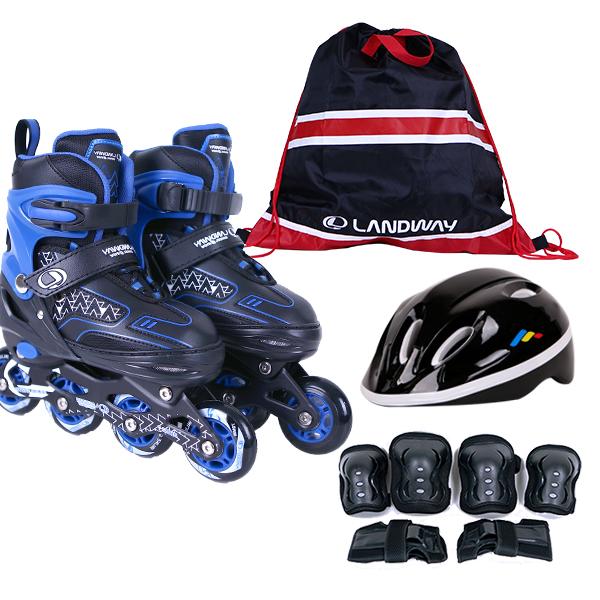 랜드웨이 스타 풀세트 인라인스케이트 + 헬멧 + 보호대 + 가방 세트, 블루