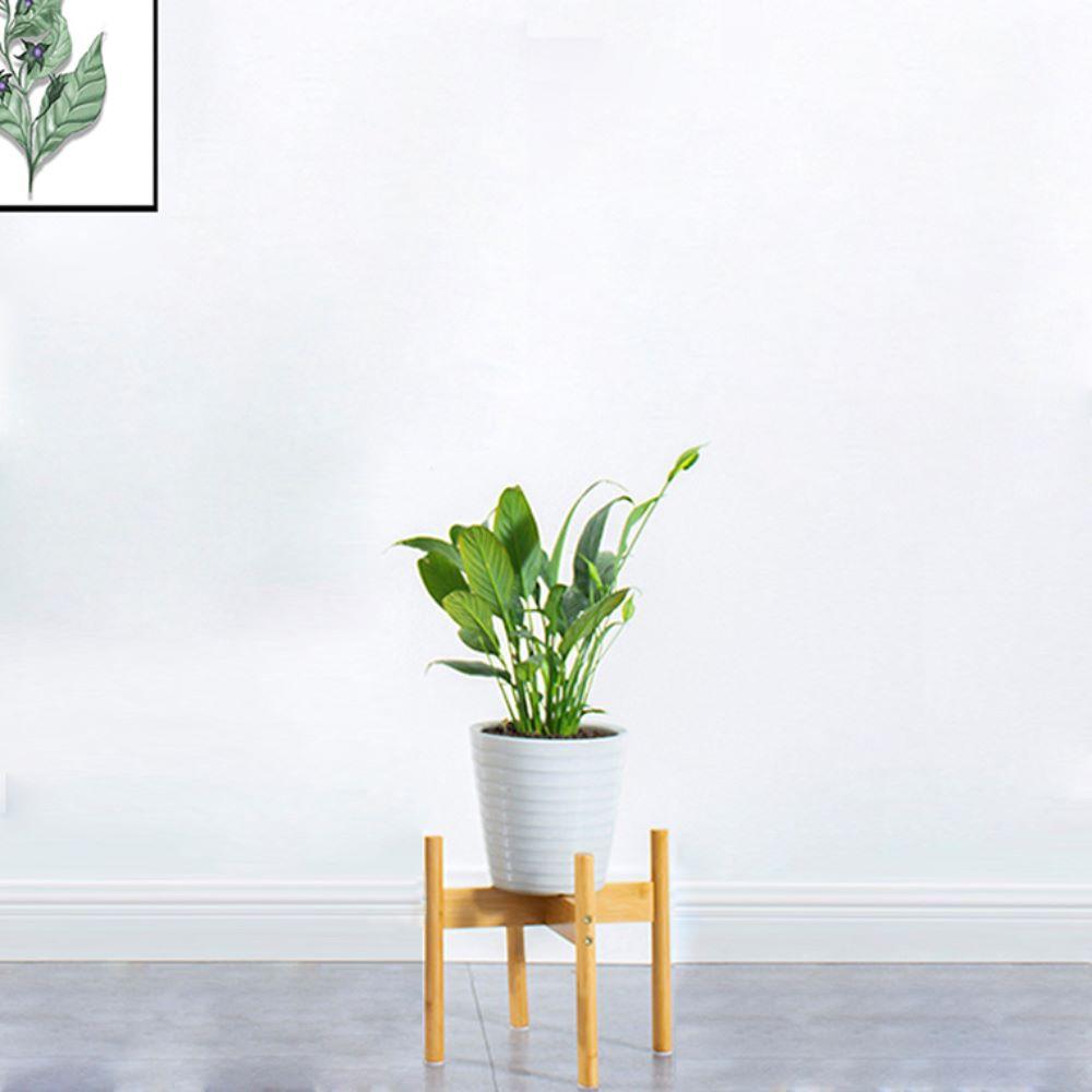 풍경한쪽 대나무 원목 화분 받침 스탠드, 단일색상