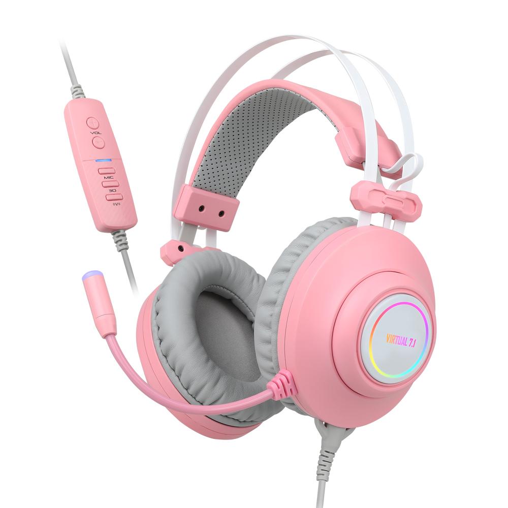앱코 HACKER 가상 7.1 RGB 진동 노이즈 캔슬링 마이크 3D 초경량 게이밍 헤드셋, N550 ENC, 핑크