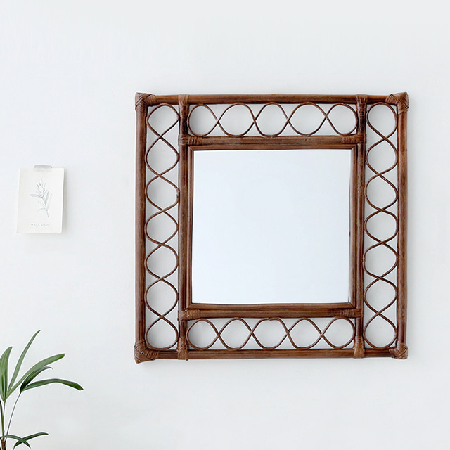 마켓비 KONDI 라탄 사각 벽거울 60 x 60 cm, 브라운