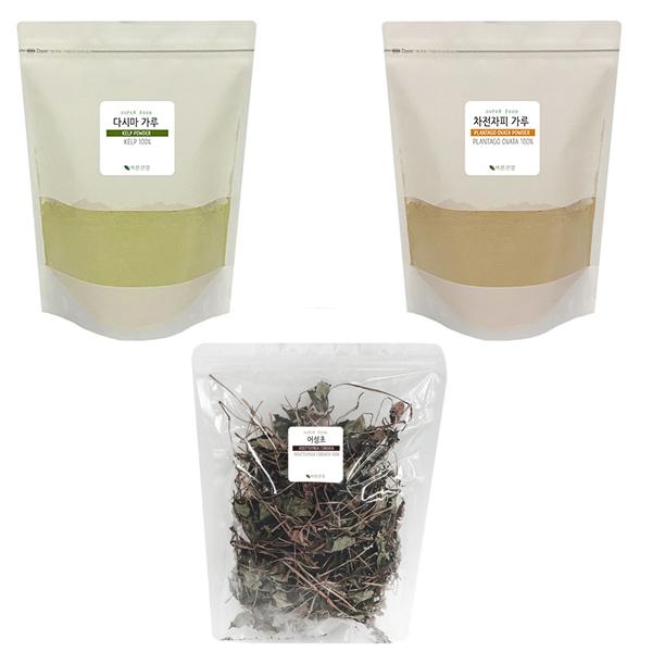 바른건강 어성초 잎 300g + 다시마 가루 300g + 차전자피 가루 300g 세트, 1세트