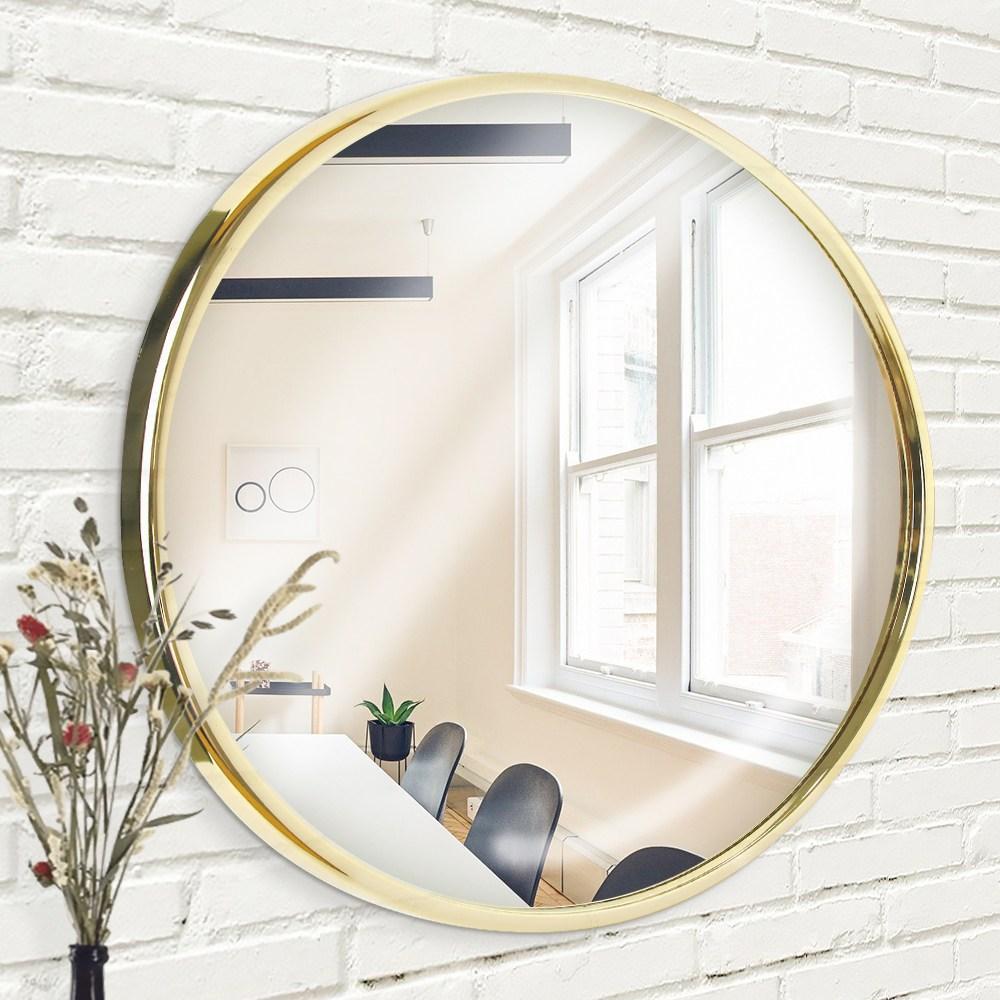 빌라드하우스 글리밍 원형 도금 인테리어 욕실 화장대 벽거울 60 x 3 cm, 골드
