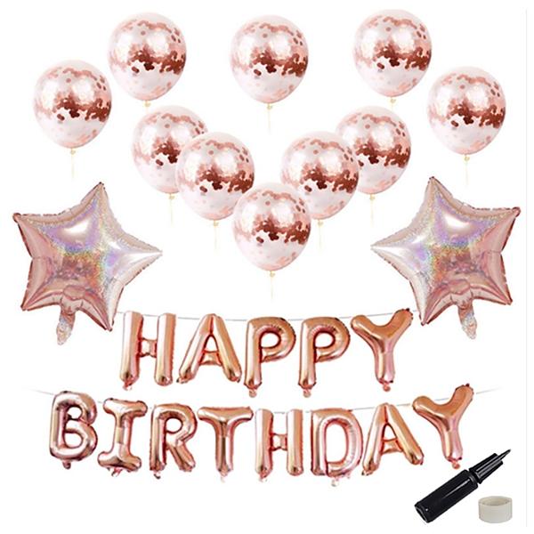 투코비 생일파티 장식 풍선 + 손펌프 + 고정테이프 세트 스타, 로즈골드, 1세트