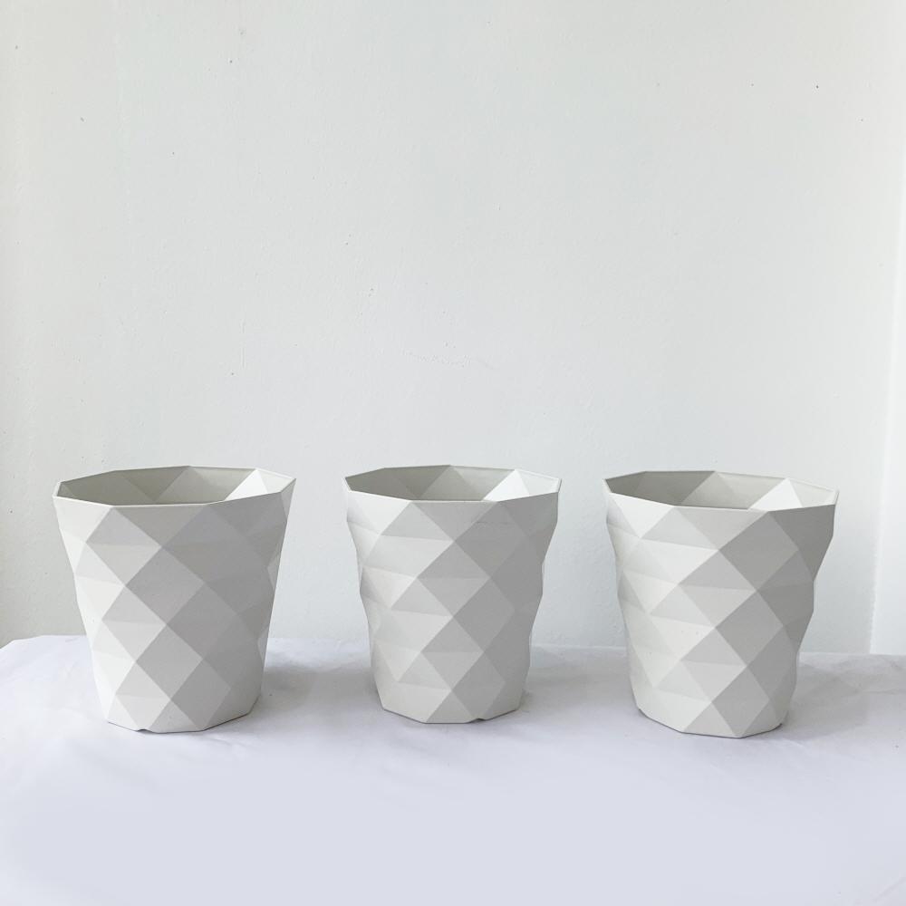 프레시가든 다이아 패턴 화분 3p, 흰색