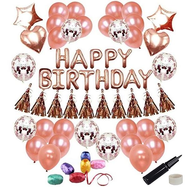 투코비 생일파티 장식 풍선 + 손펌프 + 고정테이프 세트 스타하트 핑크로즈, 골드, 1세트