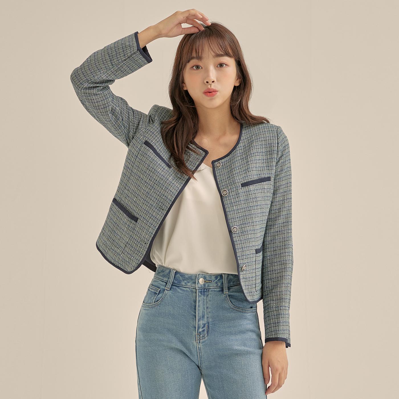 로엠 여성용 라운드넥 트위드 자켓