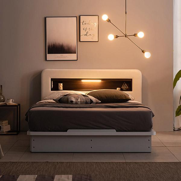 가구야 카인 가죽 LED + 220V 평상형 침대 협 + 7존 케미컬 라텍스탑 셀프 포켓 매트리스 세트 방문설치, 화이트