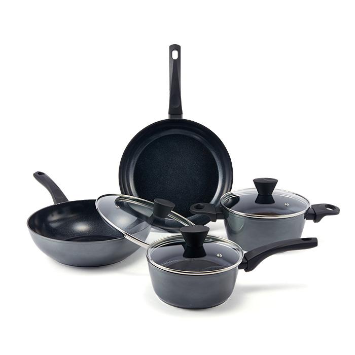 이랜드리테일 요리안심 세라믹코팅 인덕션 냄비프라이팬세트, 혼합색상, 프라이팬 28cm + 궁중팬 28cm + 유리뚜껑 28cm + 냄비 2종