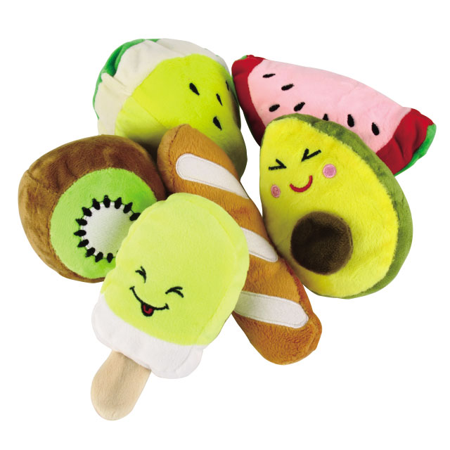 리스펫 강아지 과일 봉제인형 장난감 6종 세트, 1세트