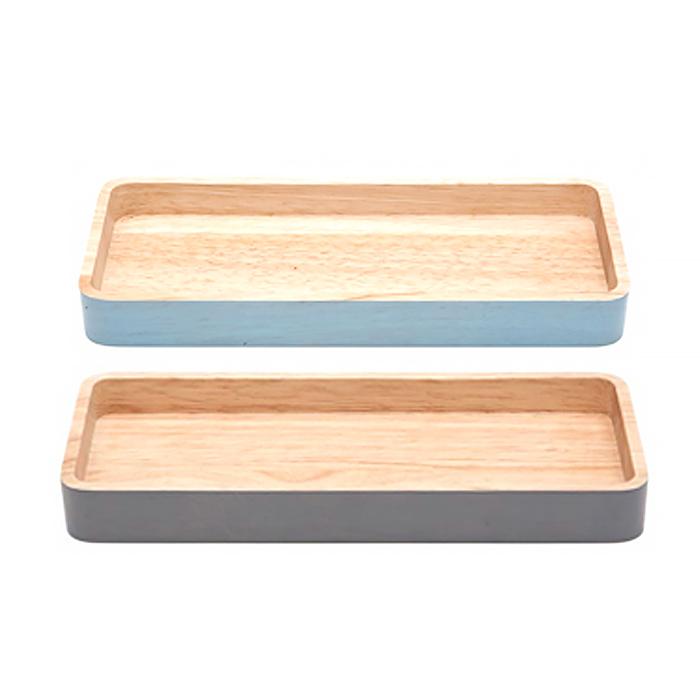 아카시아 컬러 직사각트레이, 블루, 그레이, 2개