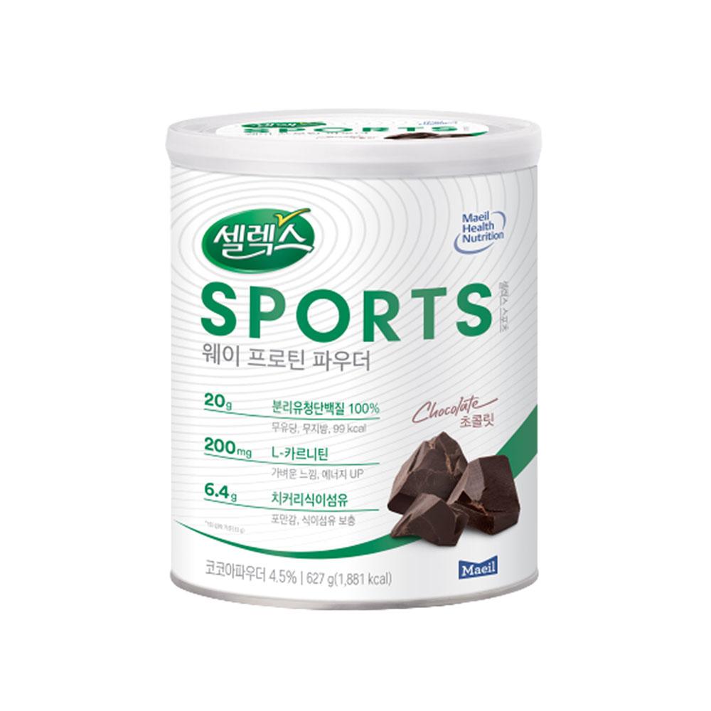 셀렉스 스포츠 웨이프로틴 파우더 초콜릿, 627g, 1개