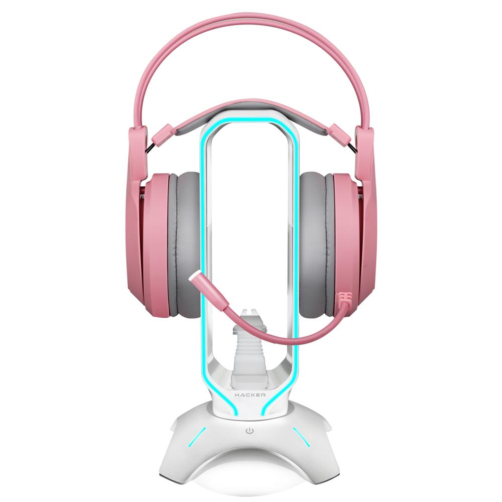 앱코 RGB 마우스 번지 헤드셋 거치대, HACKER HR500, 화이트