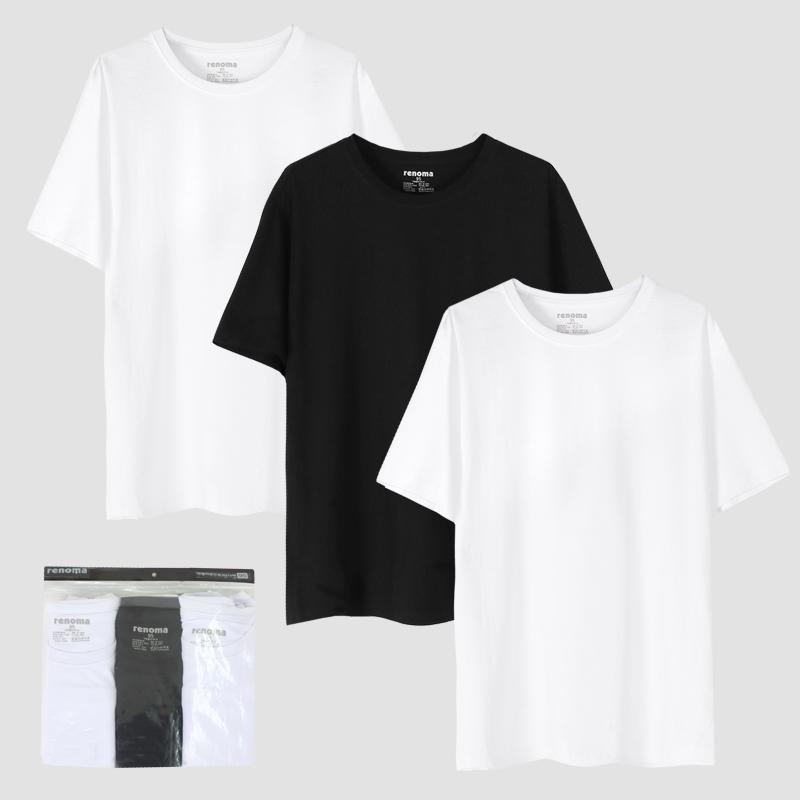 레노마 싱글흑백 라운드 튜브 반팔 티셔츠 3p 세트