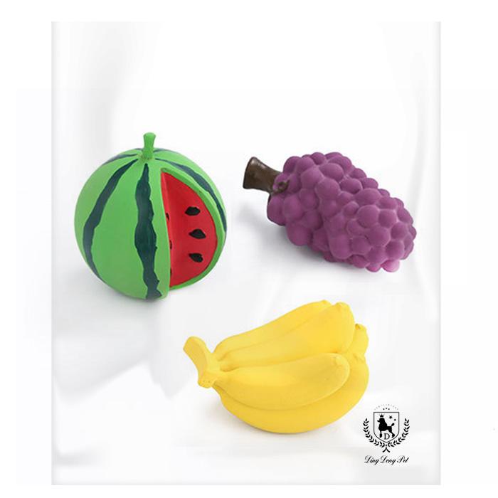 딩동펫 반려동물 리얼 미니과일 장난감 3종세트, 수박, 바나나, 포도, 1세트