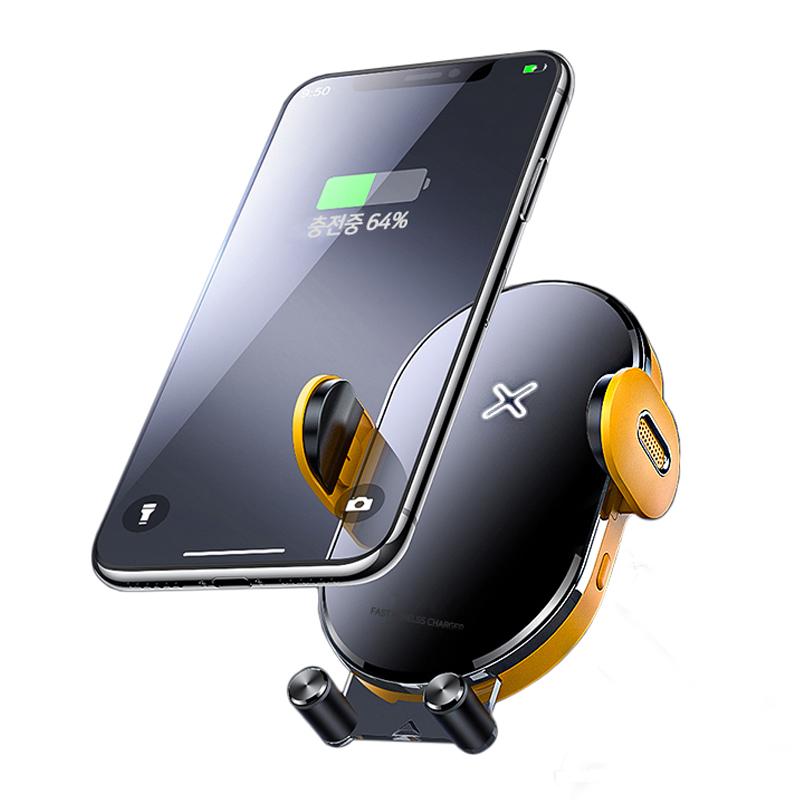 베리어 고속 무선충전 차량용 휴대폰 거치대, 1개, 옐로우