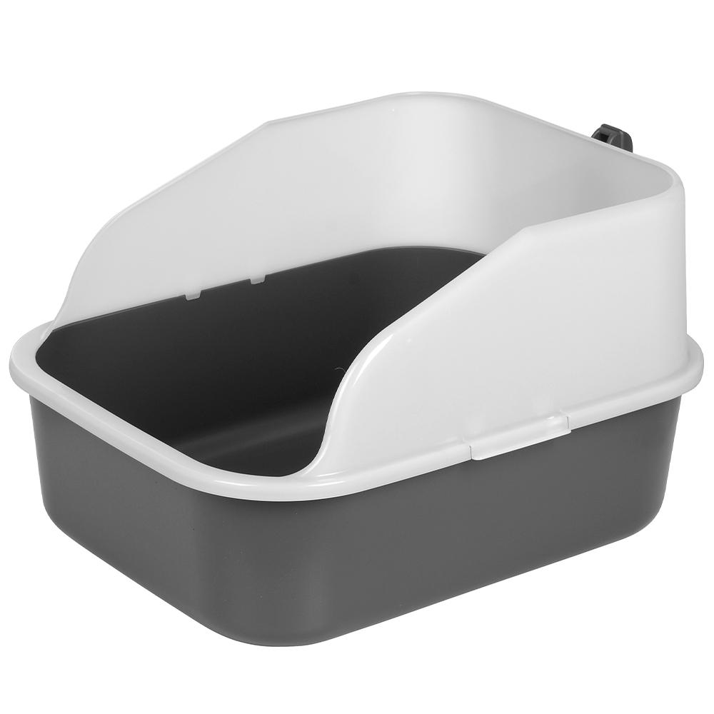 라온 프리미엄 대용량 고양이 화장실 + 모래삽 세트, 그레이