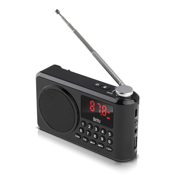 브리츠 휴대용 블루투스 FM라디오 스피커, BZ-LV990, 블랙