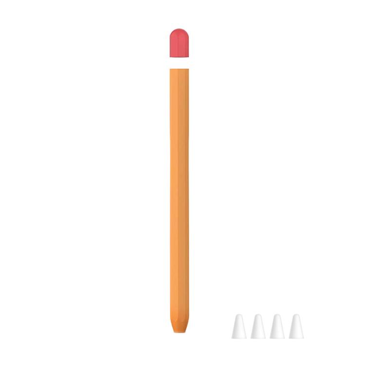 뷰씨 애플펜슬 2세대 듀오 실리콘 케이스 + 펜촉 보호캡 C타입 4p 세트, 오렌지, 1세트
