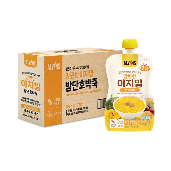 엘빈즈 이지밀 맘편한 파우치 이유식 7개월 이상, 밤단호박죽, 10개