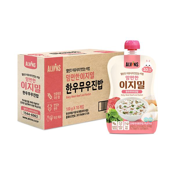 엘빈즈 이지밀 맘편한 파우치 이유식 10개월 이상, 한우무우진밥, 10개