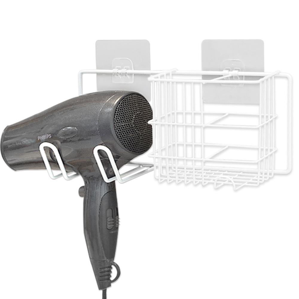 브리사 무타공 접착 욕실 드라이기거치대 장폭, 화이트, 1개