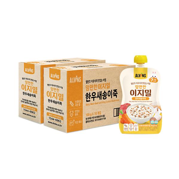 엘빈즈 이지밀 맘편한 파우치 이유식 7개월 이상, 한우새송이죽, 20개