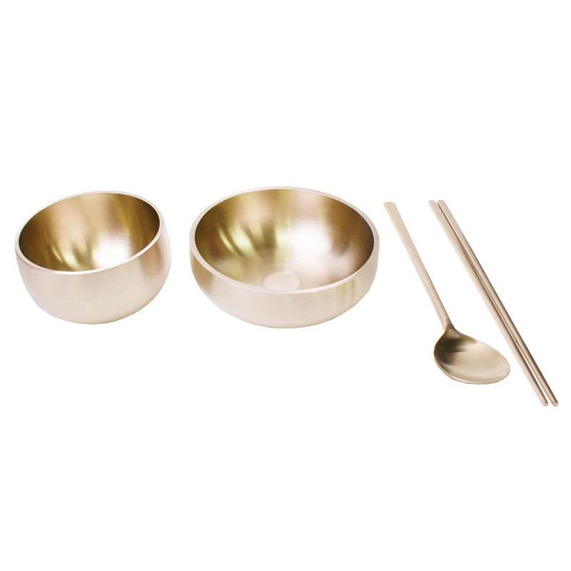 유기담 방짜 유기 1인 반상기 세트, 밥그릇 + 국그릇 + 숟가락 + 젓가락