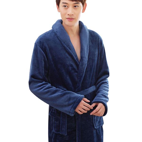 러브핑코 남성용 극세사 샤워가운 CUR02B, 네이비, 1개