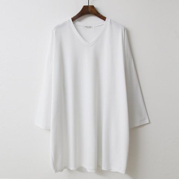 티탁 여성 빅사이즈 루즈핏 겹브이 롱 긴팔 티셔츠