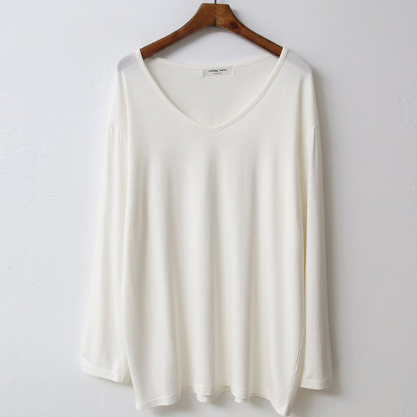 티탁 여성 빅사이즈 루즈핏 컬러브이 긴팔 티셔츠