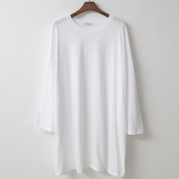[루즈 티셔츠] 티탁 여성 빅사이즈 루즈핏 무지 롱 왕박스 긴팔 티셔츠 - 랭킹56위 (6780원)