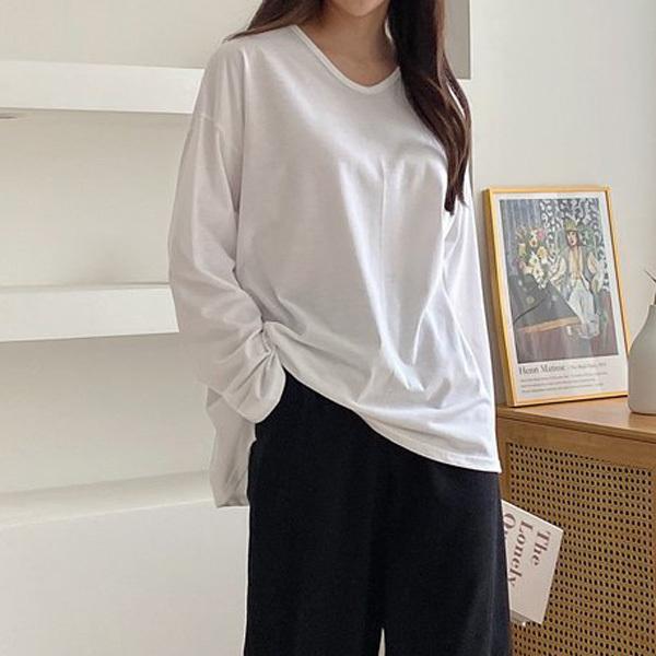 티탁 여성 빅사이즈 루즈핏 브이언발 긴팔 티셔츠