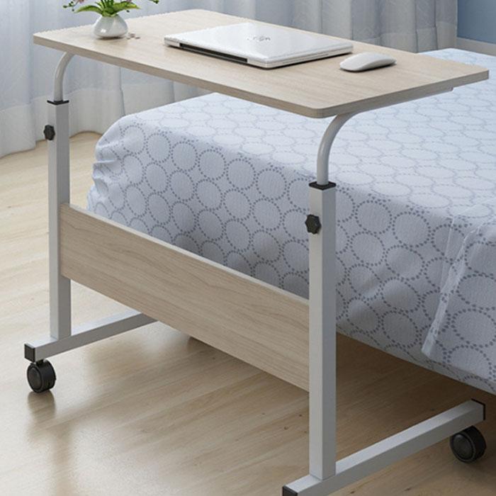 IYES 높이조절 이동식 원목 사이드 테이블 IY-804 대형 80cm, 베이지우드
