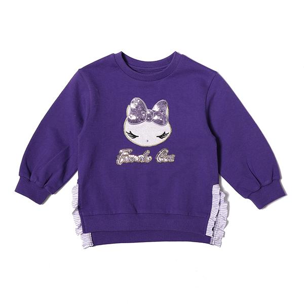 프렌치캣 여아용 프릴 배색 롱 티셔츠