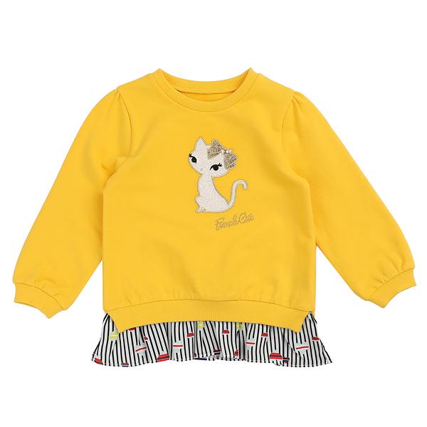프렌치캣 여아용 ST 나염 배색 롱 티셔츠